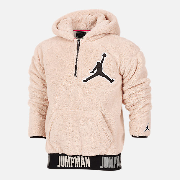 Front view of Boys' Jordan Say Word Sherpa Full-Zip Hoodie in Desert Sand