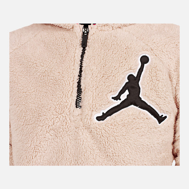 Back view of Boys' Jordan Say Word Sherpa Full-Zip Hoodie in Desert Sand