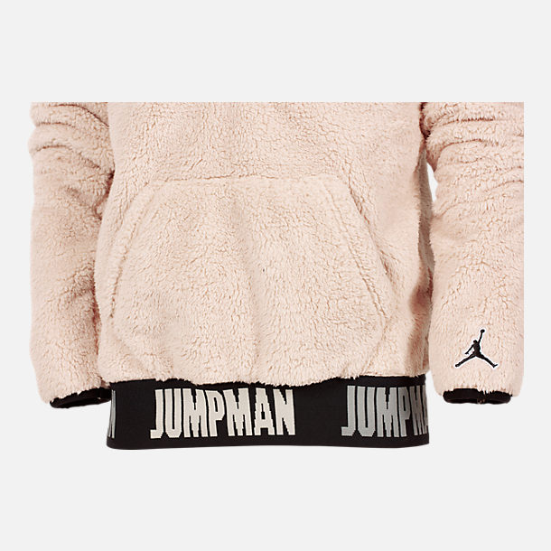 Alternate view of Boys' Jordan Say Word Sherpa Full-Zip Hoodie in Desert Sand