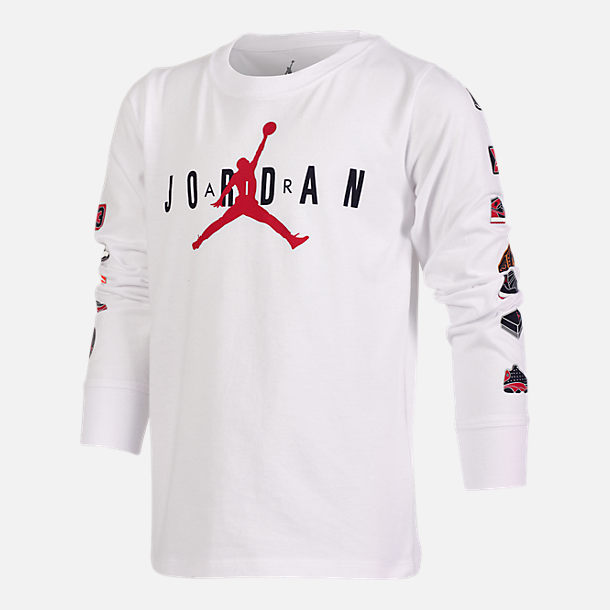 Front view of Boys' Air Jordan Pinned Up Long-Sleeve T-Shirt in White