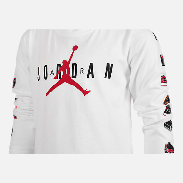 Back view of Boys' Air Jordan Pinned Up Long-Sleeve T-Shirt in White