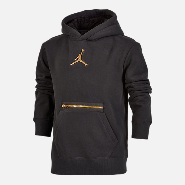 Front view of Boys' Jordan Metal Man Hoodie in Black