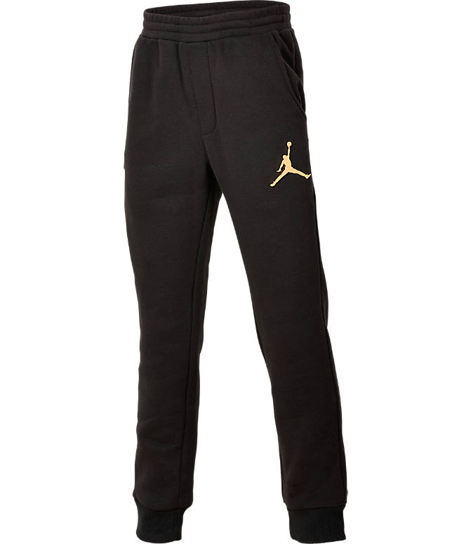 Front view of Boys' Jordan Jumpman Bonded Pants in Black
