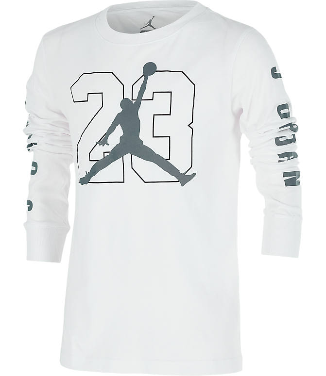 Front view of Boys' Jordan Jumpman Long Sleeve T-Shirt in White/Grey