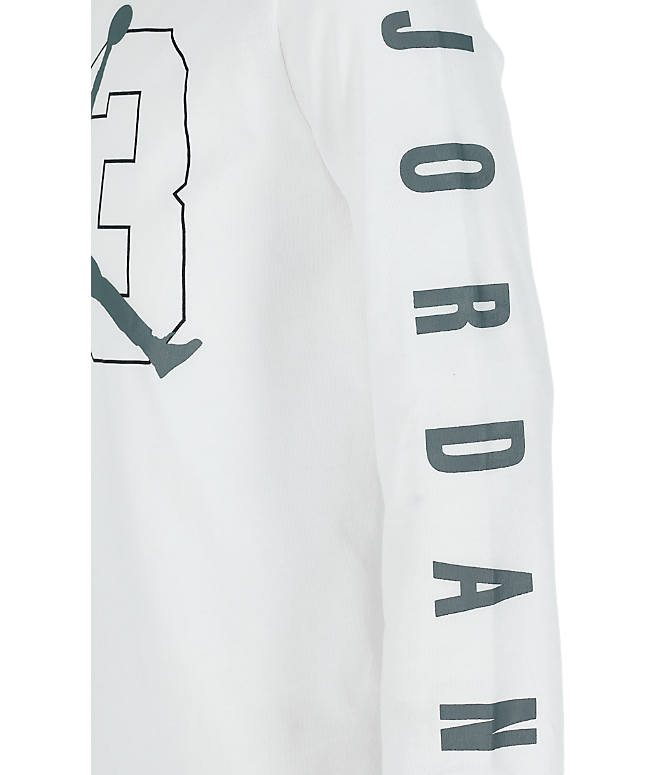 Product 3 view of Boys' Jordan Jumpman Long Sleeve T-Shirt in White/Grey