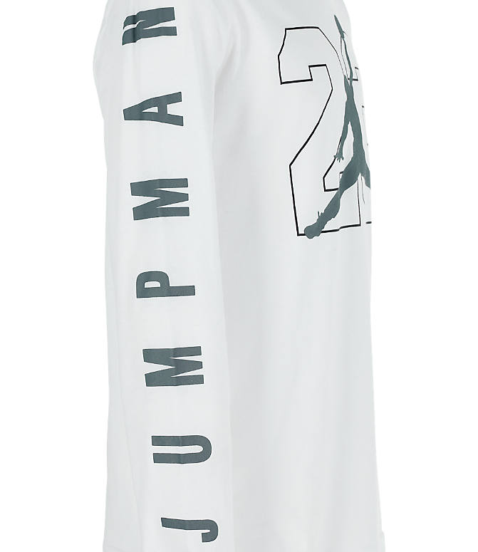 Product 4 view of Boys' Jordan Jumpman Long Sleeve T-Shirt in White/Grey