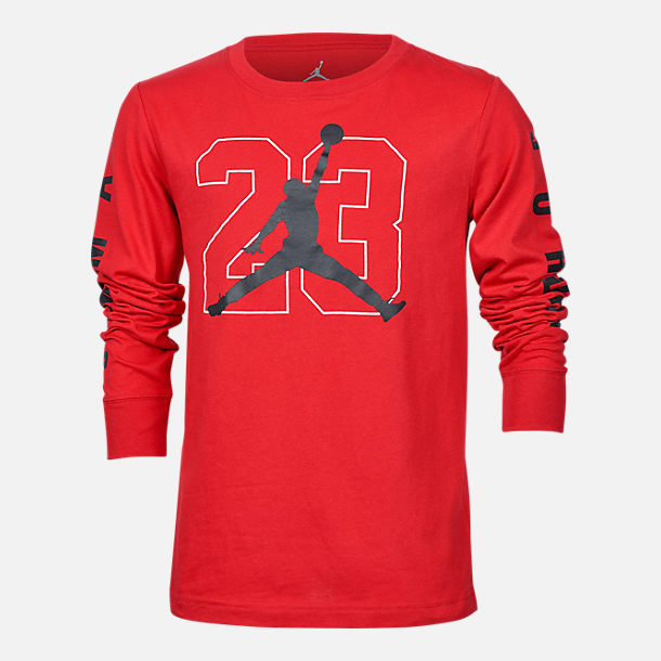 Front view of Boys' Jordan Jumpman Long Sleeve T-Shirt in Red/Black