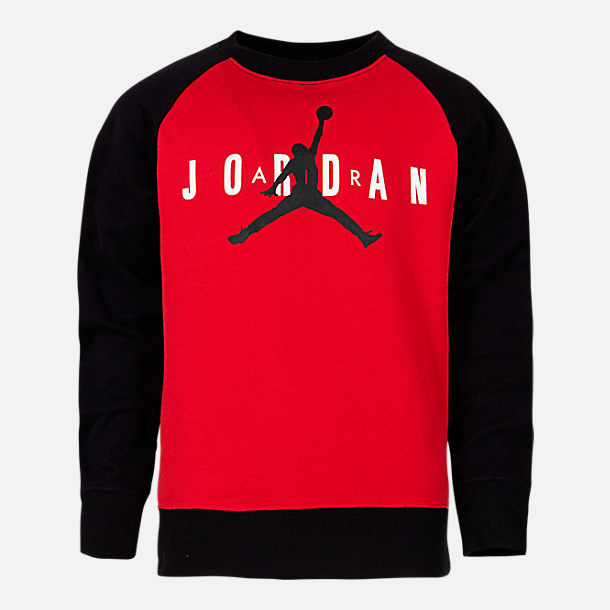 69abd649995e Front view of Boys  Air Jordan Jumpman Crewneck Sweatshirt in Gym Red Black