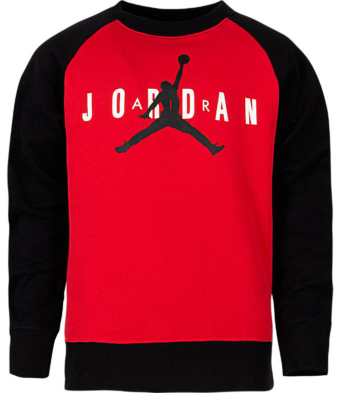 843ae36a80b Front view of Boys' Air Jordan Jumpman Crewneck Sweatshirt in Gym Red/Black