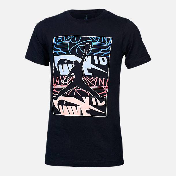 Front view of Boys' Jordan Stack Up Graphic T-Shirt in Black