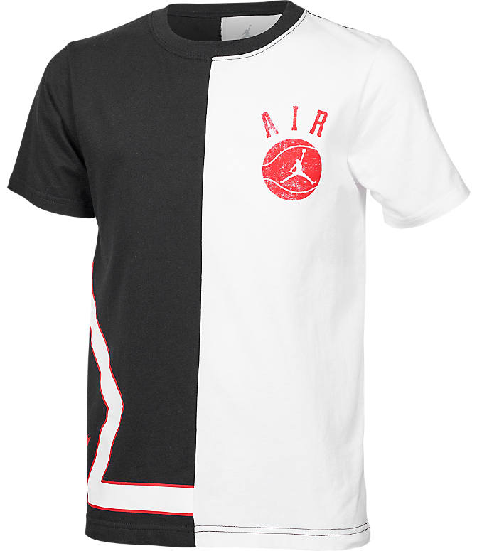 Front view of Boys' Jordan Split Game T-Shirt in Black/White
