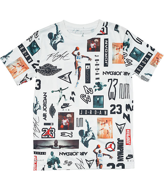 Front view of Boys' Jordan Logo Mesh T-Shirt in White/Allover Print
