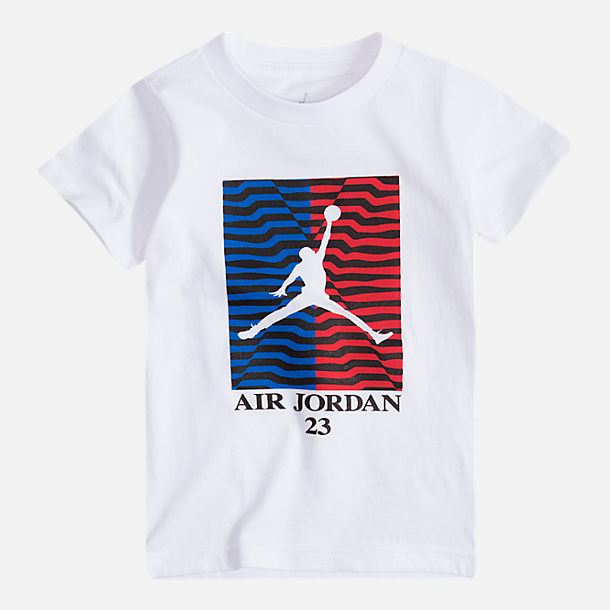 Front view of Boys' Air Jordan Retro 10 Waves T-Shirt in Black