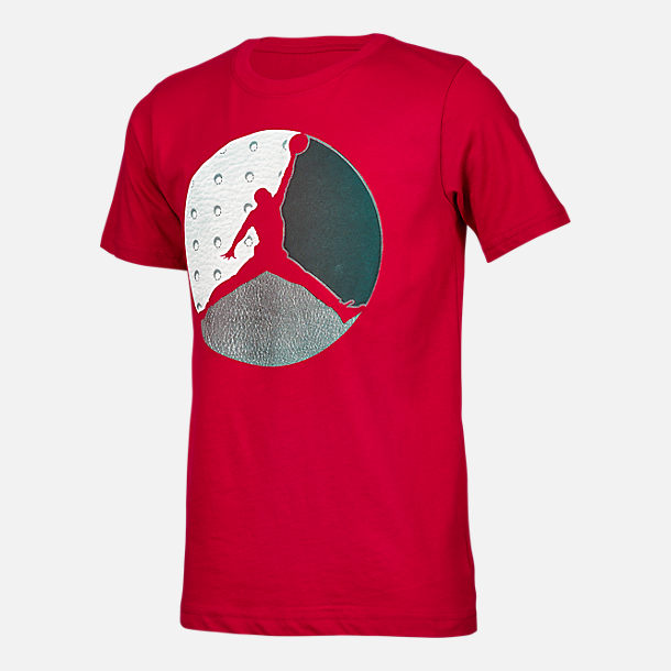 Front view of Boys' Air Jordan Retro 13 Diamond T-Shirt in Red