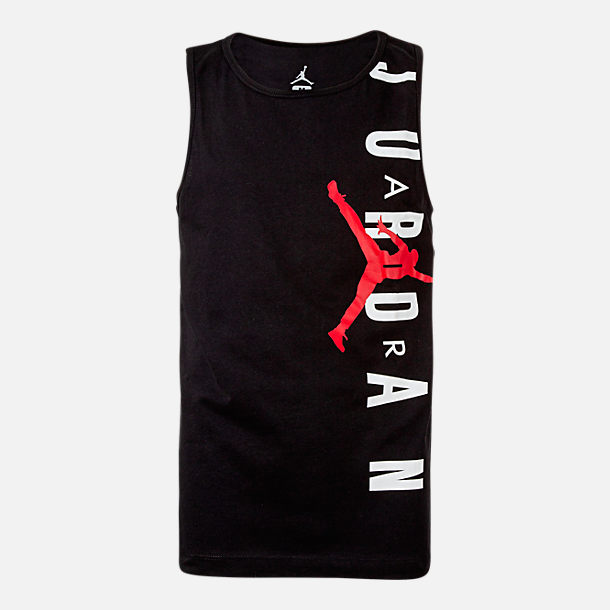 7f339bfd718055 Front view of Boys  Jordan Jumpman Tank in Black Red