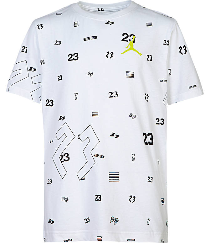 Front view of Boys' Jordan 23 Allover Print T-Shirt in White/Neon