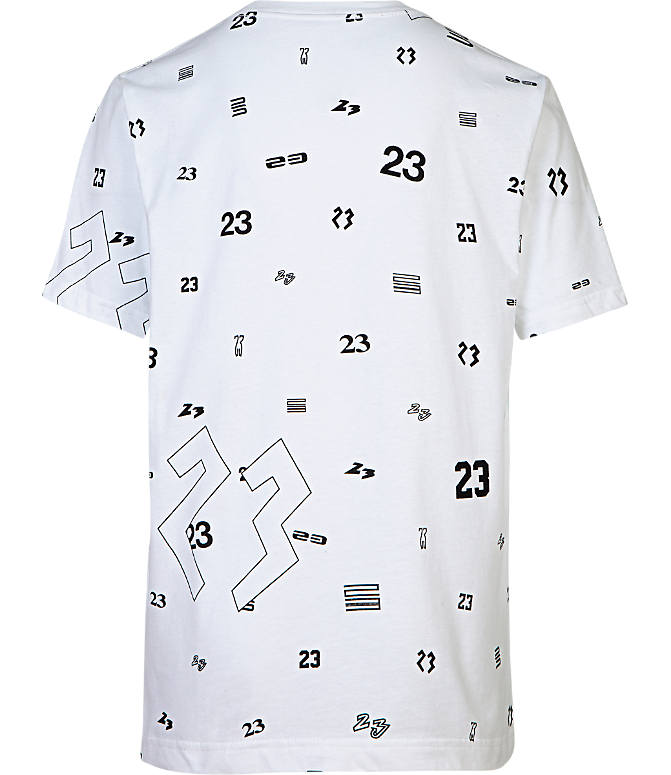 Back view of Boys' Jordan 23 Allover Print T-Shirt in White/Neon