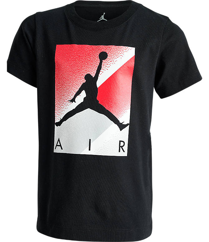 Front view of Boys' Jordan Box Spray T-Shirt in Black/Red
