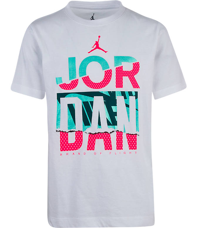 Front view of Boys' Jordan Reverse Dunk T-Shirt in White/Mystic Green