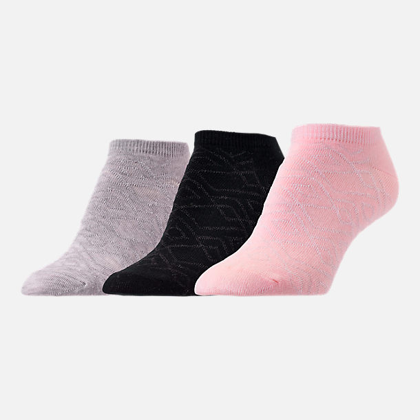 Front view of Women's Finish Line Shiny Diamond 3-Pack No-Show Socks in Pink/Black/Grey
