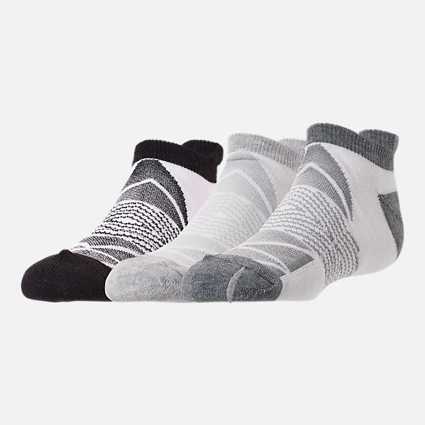 Front view of Women's Finish Line Chevron 3-Pack No-Show Tab Socks in White/Grey/Black