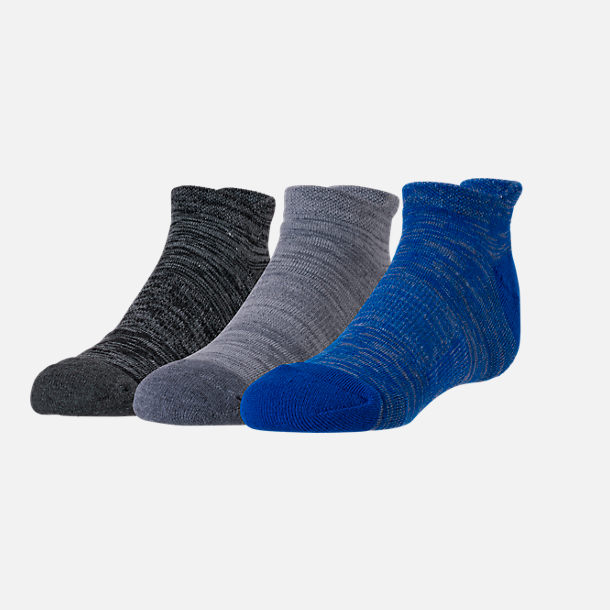 Front view of Boys' Finish Line Marl 3-Pack No-Show Socks in Black/Grey/Blue