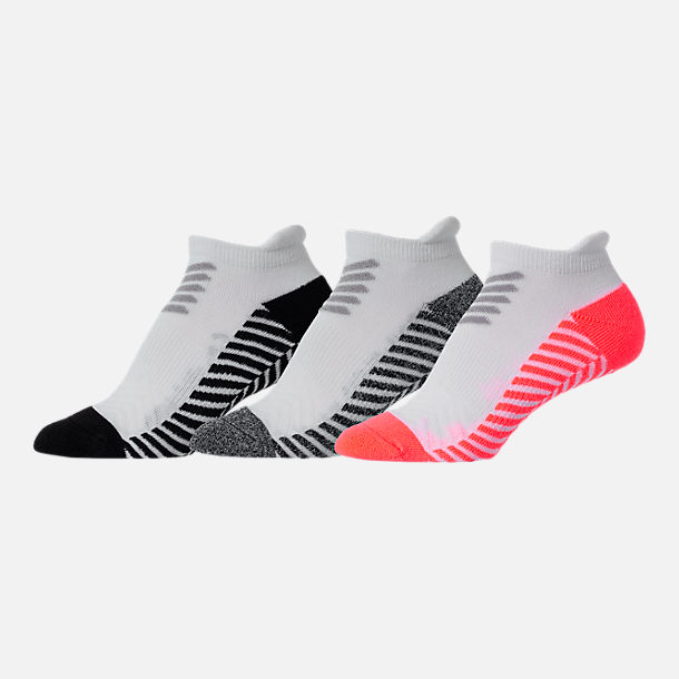 Back view of Women's Finish Line 3-Pack No Show Tab Socks in White/Black/Grey/Orange Multi