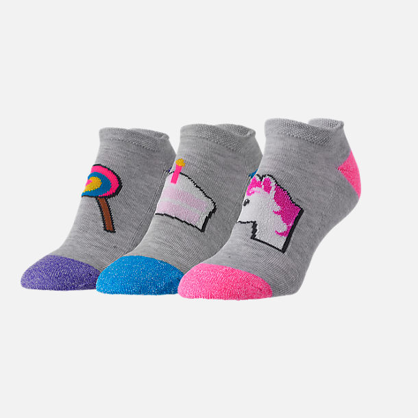 Front view of Women's Finish Line Emoji Performance Tab No-Show Socks - 3-Pack in Lollipop/Cake/Unicorn