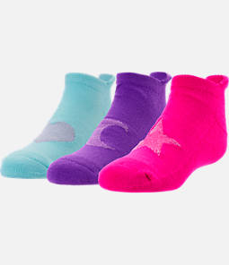 Girls' Finish Line Shapes 3-Pack No-Show Socks