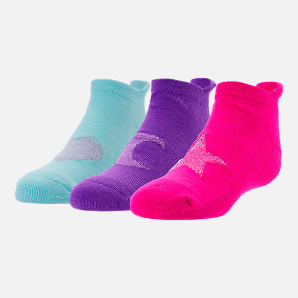 Front view of Girls' Finish Line Shapes 3-Pack No-Show Socks in Pink