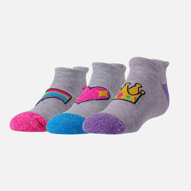 Front view of Girls' Finish Line 3-Pack Emoji No-Show Socks in Grey/Multi Emoji