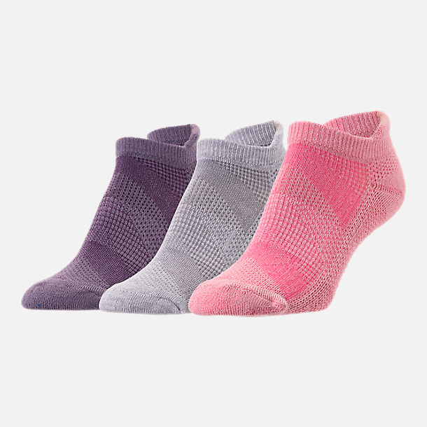 Front view of Women's Finish Line Emoji Performance Tab No-Show Socks - 3-Pack in Purple/Grey/Pink