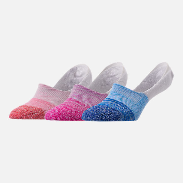 Front view of Women's Finish Line 3-Pack Footie Socks in Blue/Pink