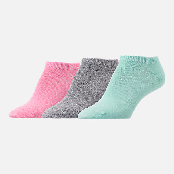 Front view of Women's Finish Line Marl 3-Pack No-Show Socks in Teal/Grey/Pink