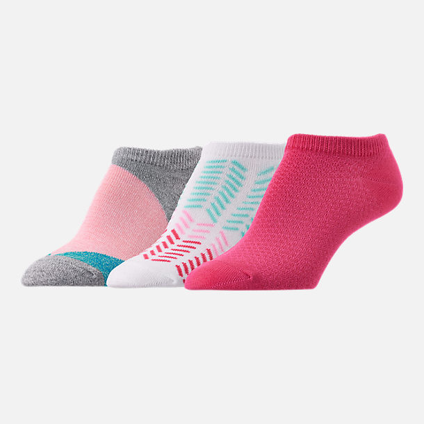 Front view of Women's Finish Line No-Show 3-Pack Socks in Grey/White/Pink