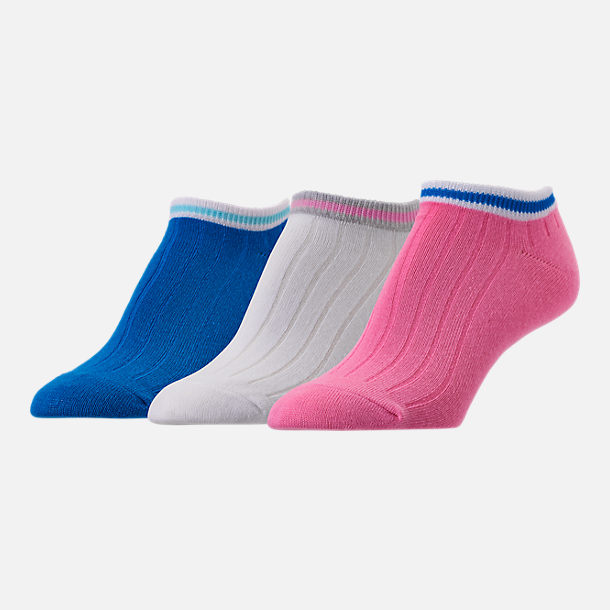 Front view of Women's Finish Line 3-Pack Tennis No-Show Socks in Pink/Blue/White