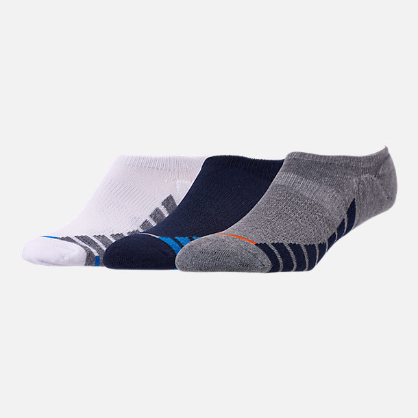 Front view of Men's Finish Line 3-Pack Footie Socks in Grey/White/Navy