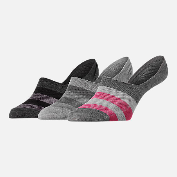 Front view of Women's Finish Line 3-Pack Footie Socks in Grey/Pink/Black Stripe