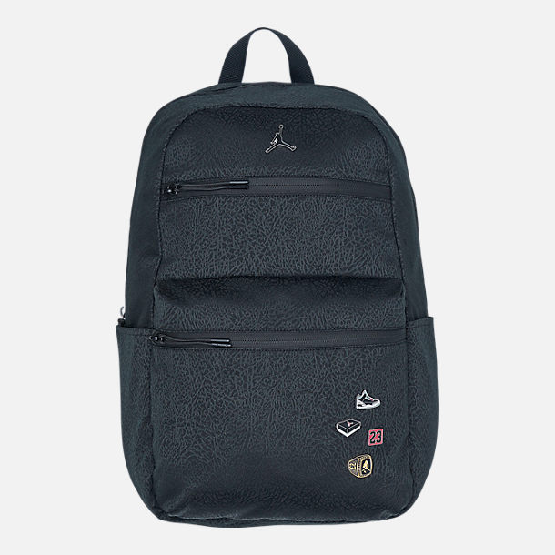 Front view of Air Jordan Pin Backpack in Black/White
