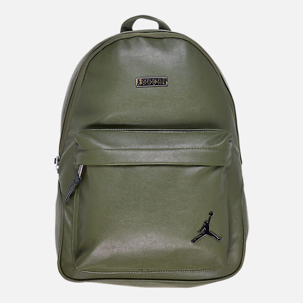 Front view of Air Jordan Regal Air Backpack in Olive/Gunmetal