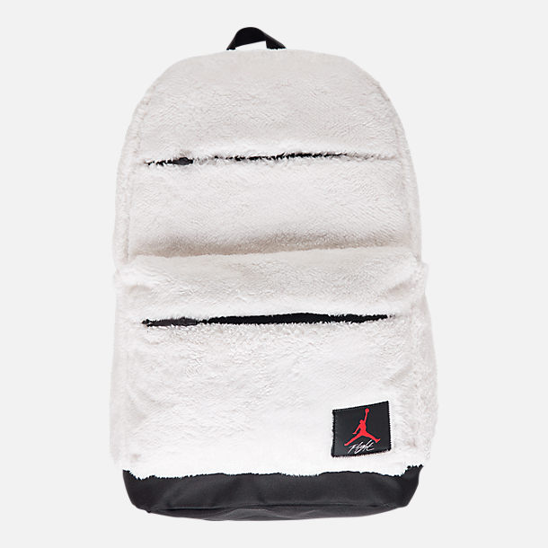 Front view of Kids' Air Jordan Sherpa Backpack in White/Gym Red