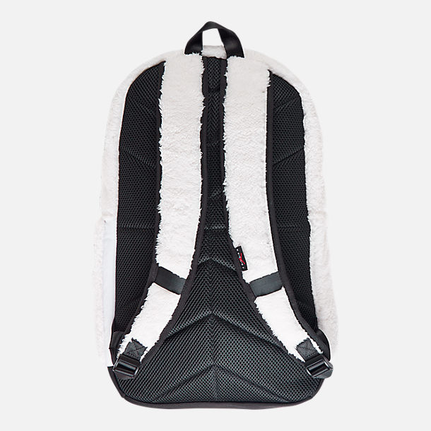 Back view of Kids' Air Jordan Sherpa Backpack in White/Gym Red