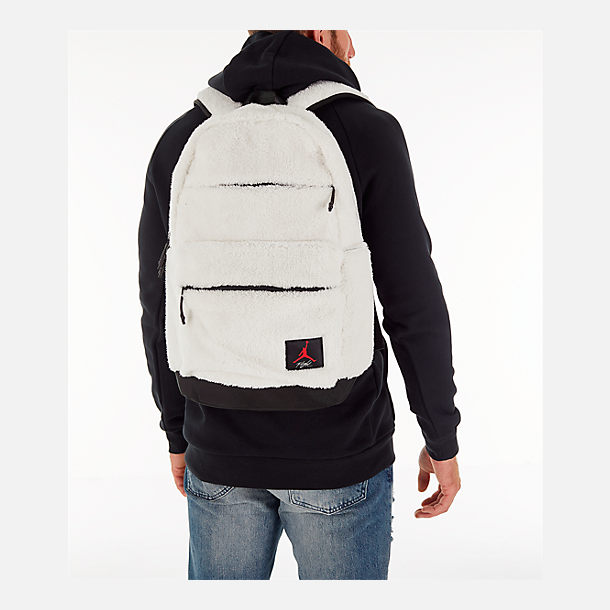Alternate view of Kids' Air Jordan Sherpa Backpack in White/Gym Red