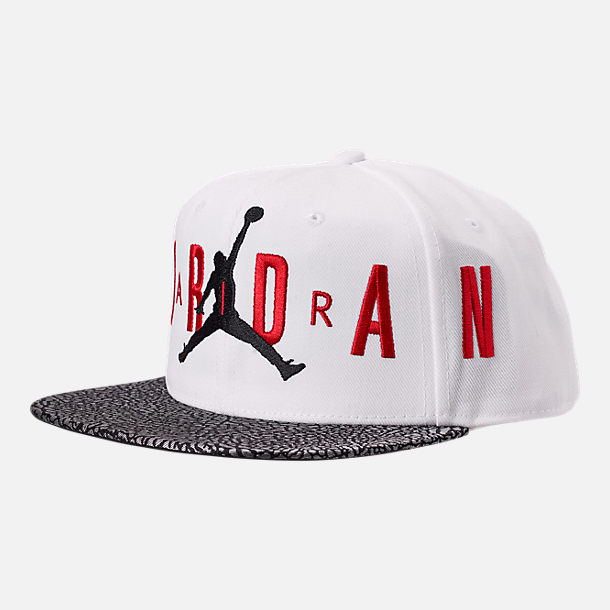 7f6e72c209b Front view of Kids  Air Jordan Elephant Print Snapback Hat in White Red