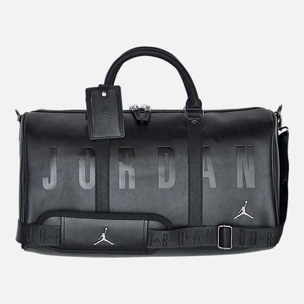 Front view of Air Jordan Jumpman Duffel Bag in Black Glossy Black 291ef278a2a71
