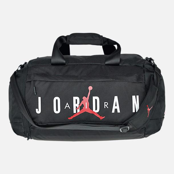 59d380393e0 Front view of Air Jordan Duffel Bag in Black/White