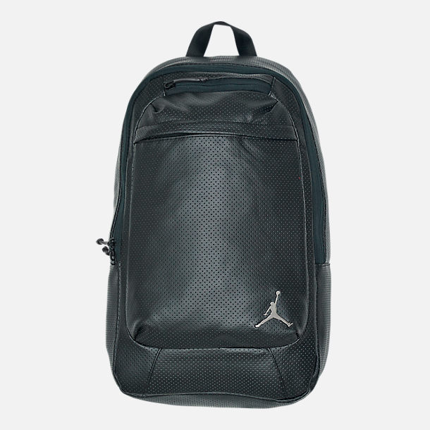 Front view of Air Jordan Legacy Backpack in Black/Shiny Gunmetal