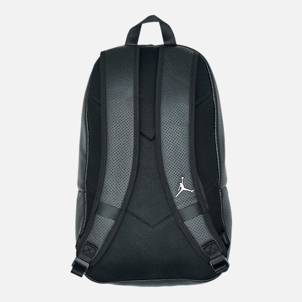 Back view of Air Jordan Legacy Backpack in Black/Shiny Gunmetal