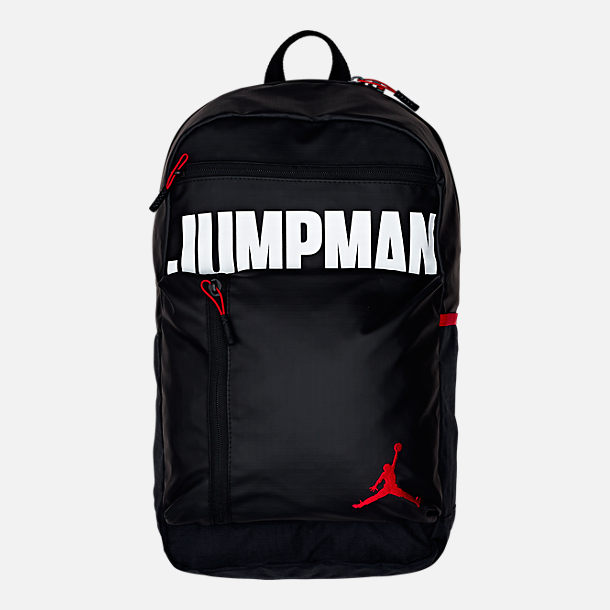 Front view of Air Jordan Jumpman Backpack in Black/White/Gym Red