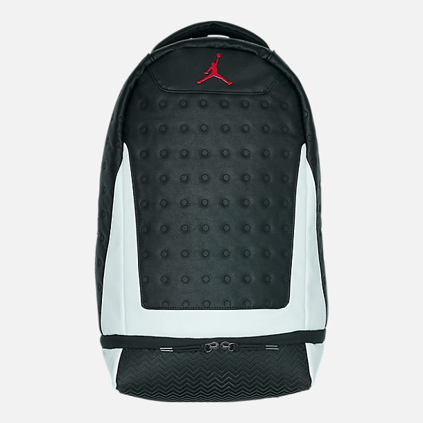 Front view of Air Jordan Retro 13 Backpack in Black/White